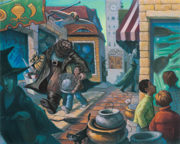 Ilustração Harry Potter e Hagrid no Beco Diagonal / Mary GrandPré : Art Insights Gallery : Via artinsights.com