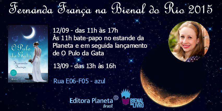 Fernanda França estará na Bienal do Livro 2015 para lançar o 'Pulo da Gata' nos dias 12 e 13 de setembro
